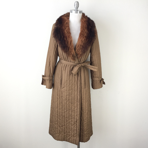 Vintage Jackets & Blazers - VTG coat Domino Boho XS S brown Real Fur Collar